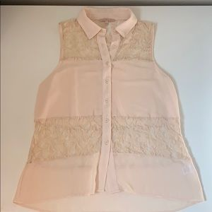 So trendy! Tie the front! Beautiful lace detail!